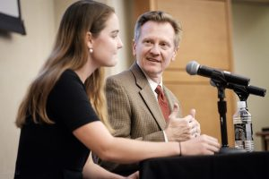 Rethinking Community, October 20, 2017, Wake Forest University. Sarah Brown, a writer for the Chronicle of Higher Education, talks with James Otteson during the closing plenary session.